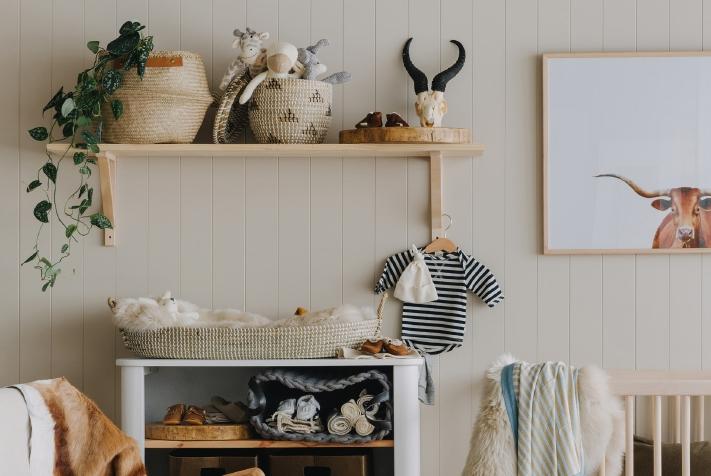 nursery set up with alex walls
