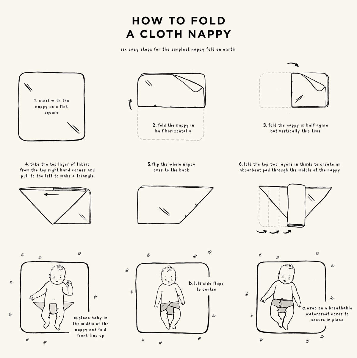 how to fold a cloth nappy square